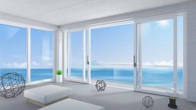 Άσπρη ευρεία συρόμενη πόρτα στο δωμάτιο στοκ φωτογραφίες με δικαίωμα ελεύθερης χρήσης
