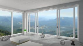 Άσπρη ευρεία συρόμενη πόρτα στο σαλέ βουνών στοκ φωτογραφία με δικαίωμα ελεύθερης χρήσης