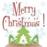 Άσπρη ευχετήρια κάρτα Χαρούμενα Χριστούγεννας απεικόνιση αποθεμάτων