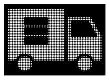 Άσπρη ημίτοή μεταφορά δεδομένων Van Icon απεικόνιση αποθεμάτων