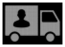 Άσπρη ημίτοή μεταφορά επιβατών Van Icon ελεύθερη απεικόνιση δικαιώματος