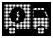 Άσπρη ημίτοή παροχή ηλεκτρικού ρεύματος Van Icon διανυσματική απεικόνιση