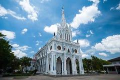 Άσπρη καθολική εκκλησία στην Ταϊλάνδη Στοκ Φωτογραφία