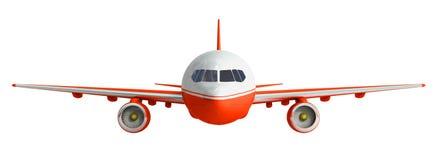 Άσπρη και κόκκινη τρισδιάστατη απόδοση αεροπλάνων στο άσπρο υπόβαθρο Στοκ Φωτογραφία
