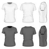 Άσπρη και μαύρη κοντή μπλούζα μανικιών ατόμων απεικόνιση αποθεμάτων