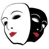 Άσπρη και μαύρη μάσκα Στοκ Εικόνες