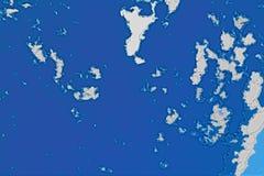 Άσπρη και μπλε σύσταση υποβάθρου Αφηρημένος χάρτης με τη βόρεια ακτή, θάλασσα, ωκεανός, πάγος, βουνά, σύννεφα ελεύθερη απεικόνιση δικαιώματος