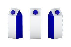 Άσπρη και μπλε κενή συσκευασία κιβωτίων για το γάλα και το χυμό, ψαλίδισμα απεικόνιση αποθεμάτων