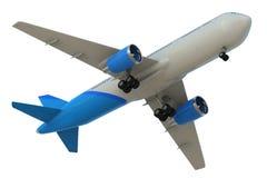 Άσπρη και μπλε χλεύη επάνω στο αεροπλάνο Στοκ Εικόνες