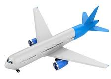 Άσπρη και μπλε χλεύη επάνω στο αεροπλάνο Στοκ εικόνα με δικαίωμα ελεύθερης χρήσης