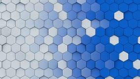 Άσπρη και μπλε hexagons αφηρημένη τρισδιάστατη απόδοση Στοκ εικόνες με δικαίωμα ελεύθερης χρήσης