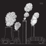 Άσπρη καπνοδόχος στο μαύρο υπόβαθρο Απεικόνιση της ατμοσφαιρικής ρύπανσης που προκαλείται από τον καπνό από το σωλήνα εργοστασίων ελεύθερη απεικόνιση δικαιώματος
