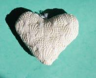 Άσπρη καρδιά σε ένα πράσινο υπόβαθρο Στοκ Εικόνα