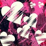 Άσπρη καρδιά και grunge αφηρημένα γκράφιτι σχεδίων σύστασης Στοκ Εικόνες
