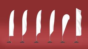 Άσπρη κενή σημαία παραλιών στάσεων εμβλημάτων EXPO Θάλαμος γεγονότος EXPO εμπορικών εκθέσεων δώστε το πρότυπο προτύπων απεικόνιση Στοκ Φωτογραφία