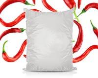 Άσπρη κενή τσάντα τροφίμων φύλλων αλουμινίου Στοκ φωτογραφία με δικαίωμα ελεύθερης χρήσης