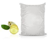 Άσπρη κενή τσάντα τροφίμων φύλλων αλουμινίου Στοκ εικόνα με δικαίωμα ελεύθερης χρήσης