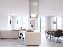 Άσπρη κουζίνα γωνιών στο σύγχρονο ύφος, με τις τοπ και μαύρες καρέκλες φραγμών Ανασταλμένοι λαμπτήρες και τετραγωνική κουκούλα, π ελεύθερη απεικόνιση δικαιώματος