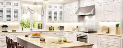 Άσπρη κουζίνα πολυτέλειας με το παράθυρο ελεύθερη απεικόνιση δικαιώματος