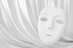 Άσπρη κουρτίνα θεάτρων μασκών και μεταξιού Στοκ εικόνες με δικαίωμα ελεύθερης χρήσης