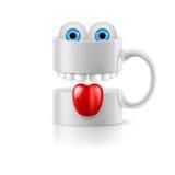 Άσπρη κούπα δύο μερών με τα δόντια, τη γλώσσα και τα froggy μάτια Στοκ Φωτογραφίες