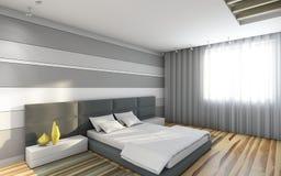Άσπρη κρεβατοκάμαρα Στοκ Εικόνα