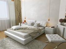 Άσπρη κρεβατοκάμαρα Στοκ φωτογραφία με δικαίωμα ελεύθερης χρήσης