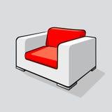 Άσπρη κόκκινη σύγχρονη πολυθρόνα Στοκ Εικόνες