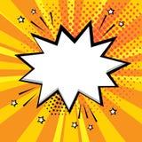 Άσπρη λεκτική φυσαλίδα στο πορτοκαλί υπόβαθρο Κωμικά υγιή αποτελέσματα στο λαϊκό ύφος τέχνης r διανυσματική απεικόνιση
