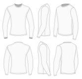 Άσπρη μακριά μπλούζα μανικιών ατόμων διανυσματική απεικόνιση