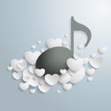 Άσπρη μαύρη μουσική καρδιών Στοκ Φωτογραφία