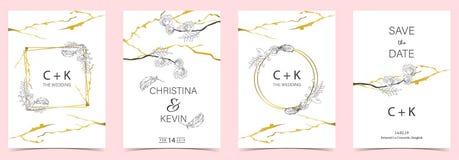 Άσπρη, μαύρη, χρυσή κάρτα γαμήλιας πρόσκλησης περιλήψεων γεωμετρίας με το ρ απεικόνιση αποθεμάτων