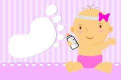Άσπρη μεγάλη κενή μορφή ποδιών μωρών ευχετήριων καρτών κοριτσάκι για να προσθέσει το κείμενό σας Στοκ Εικόνα