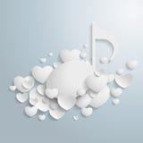 Άσπρη μουσική καρδιών Στοκ Φωτογραφία