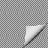 Άσπρη μπούκλα εγγράφου κλίσης με τη σκιά που απομονώνεται στο διαφανές υπόβαθρο Φύλλο περιοδικών στροφής EPS1 απεικόνιση αποθεμάτων