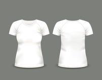 Άσπρη μπλούζα ρεγκλάν γυναικών κατά τις μπροστινές και πίσω απόψεις δρύινο διάνυσμα προτύπων κορδελλών φύλλων δαφνών συνόρων Πλήρ Στοκ Εικόνες