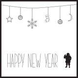 Άσπρη νέα κάρτα έτους με το μαύρες κείμενο και τη σκιαγραφία Άγιου Βασίλη επίσης corel σύρετε το διάνυσμα απεικόνισης Στοκ Φωτογραφία