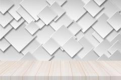 Άσπρη ξύλινη επιτραπέζια κορυφή προοπτικής με το τετραγωνικό έμβλημα εγγράφου Στοκ Φωτογραφία