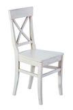Άσπρη ξύλινη καρέκλα που απομονώνεται Στοκ εικόνες με δικαίωμα ελεύθερης χρήσης