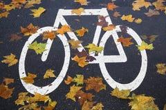 Άσπρη πάροδος ποδηλάτων σημαδιών Στοκ εικόνες με δικαίωμα ελεύθερης χρήσης