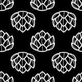Άσπρη περίληψη succulents στο μαύρο υπόβαθρο πρότυπο άνευ ραφής Στοκ φωτογραφία με δικαίωμα ελεύθερης χρήσης