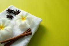 Άσπρη πετσέτα με τα λουλούδια του plumeria με τα αστέρια των ραβδιών γλυκάνισου και κανέλας στο κίτρινο υπόβαθρο Στοκ Εικόνα