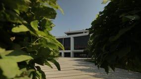 Άσπρη πρόσοψη του σύγχρονου κτηρίου, γενικός πυροβολισμός 2 απόθεμα βίντεο