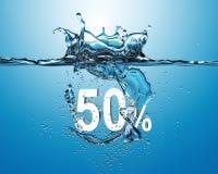 Άσπρη πώληση πενήντα τοις εκατό που πέφτουν στο νερό με τον παφλασμό στο blu Στοκ Εικόνες