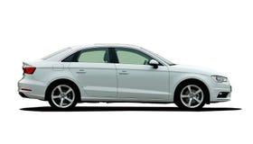 Άσπρη πλάγια όψη αυτοκινήτων Στοκ Εικόνα