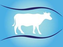 Άσπρη σκιαγραφία της αγελάδας στο μπλε υπόβαθρο με τα κύματα Στοκ Εικόνες