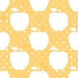 Άσπρη σκιαγραφία της Apple σε ένα κίτρινο σημείο Πόλκα πρότυπο άνευ ραφής επίσης corel σύρετε το διάνυσμα απεικόνισης διανυσματική απεικόνιση
