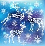 Άσπρη σκιαγραφία των τυποποιημένων deers Στοκ Εικόνα