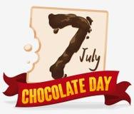 Άσπρη σοκολάτα με την καφετιά ημερομηνία και κορδέλλα για την ημέρα σοκολάτας, διανυσματική απεικόνιση Στοκ εικόνες με δικαίωμα ελεύθερης χρήσης