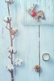 Άσπρη συλλογή των διακοσμήσεων χειμώνα ή Χριστουγέννων στοκ εικόνα με δικαίωμα ελεύθερης χρήσης